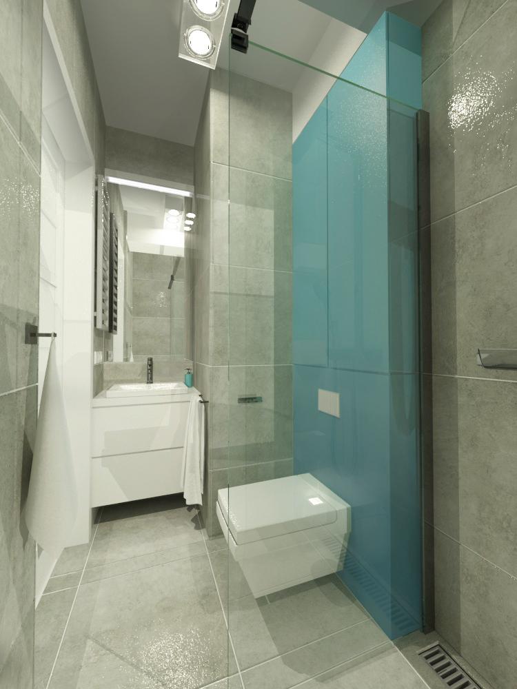 widok z prysznica na umywalkę