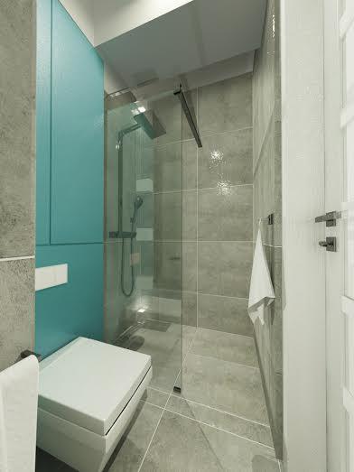 widok z umywalki na prysznic